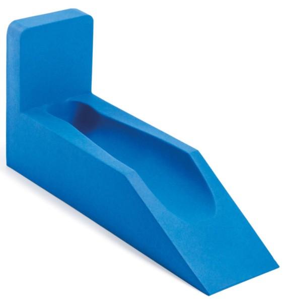 Beinhochlagerungsschiene 30º breite Form in Skinfoam blau